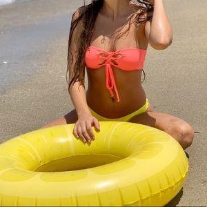 Lace up tie bandeau bikini top